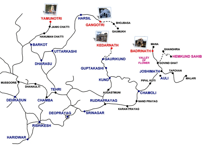 Chardham yatra tour Map Route